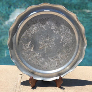 Vintage hand wrought Aluminum FLORAL TRAY